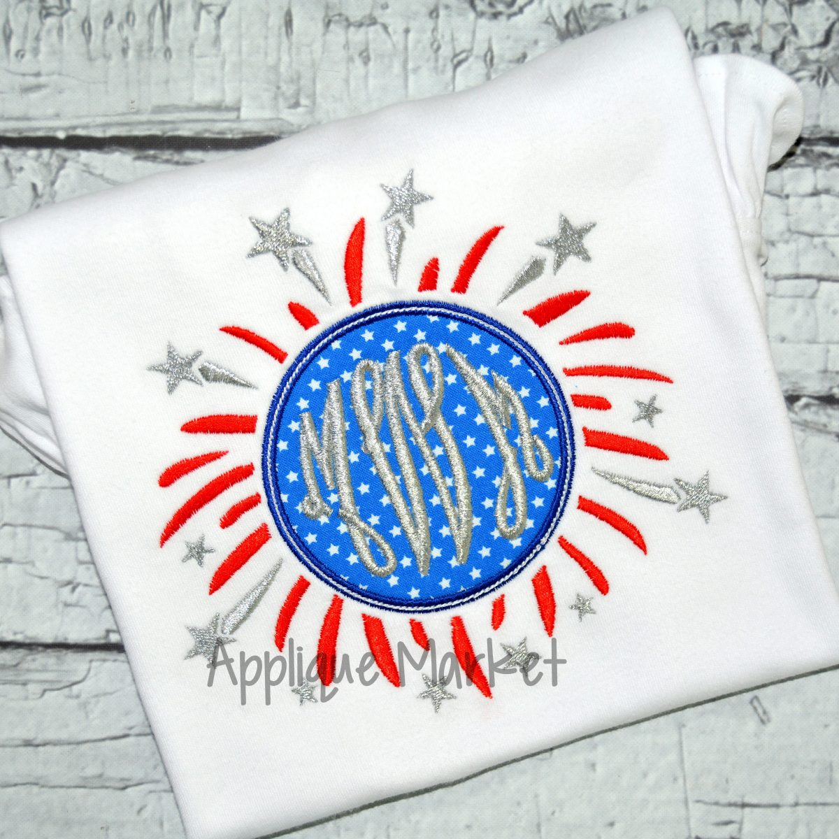 fireworks monogram sample