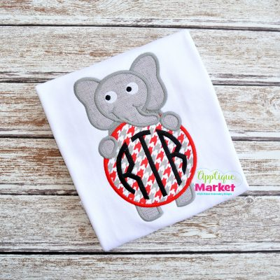 Elephant Monogram Circle Sample