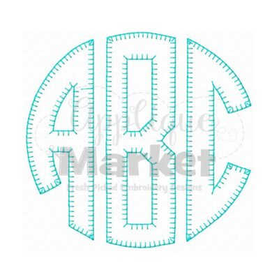 Circle Monogram Applique Blanket Stitch