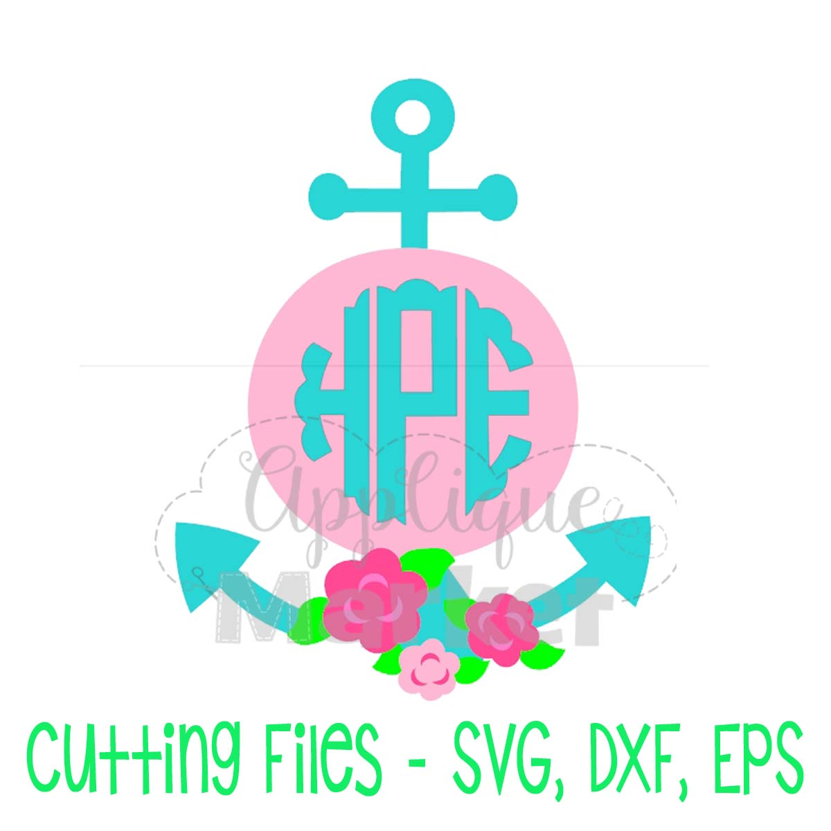 Anchor Flowers Monogram Frame Svg