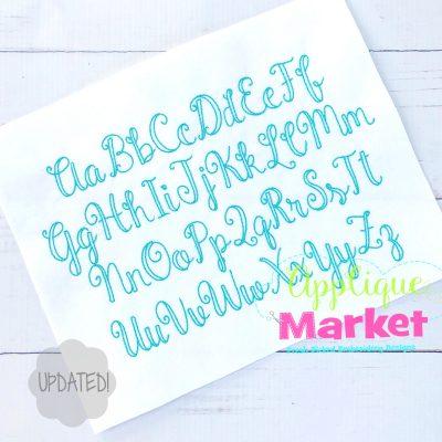 market script vintage embroidery font update