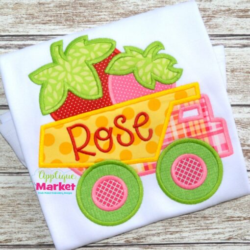 embroidery applique dump truck strawberries summer