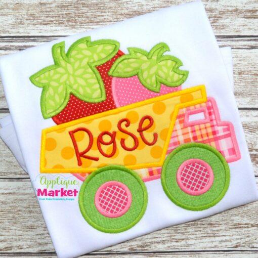 embroidery applique dump truck strawberries summer