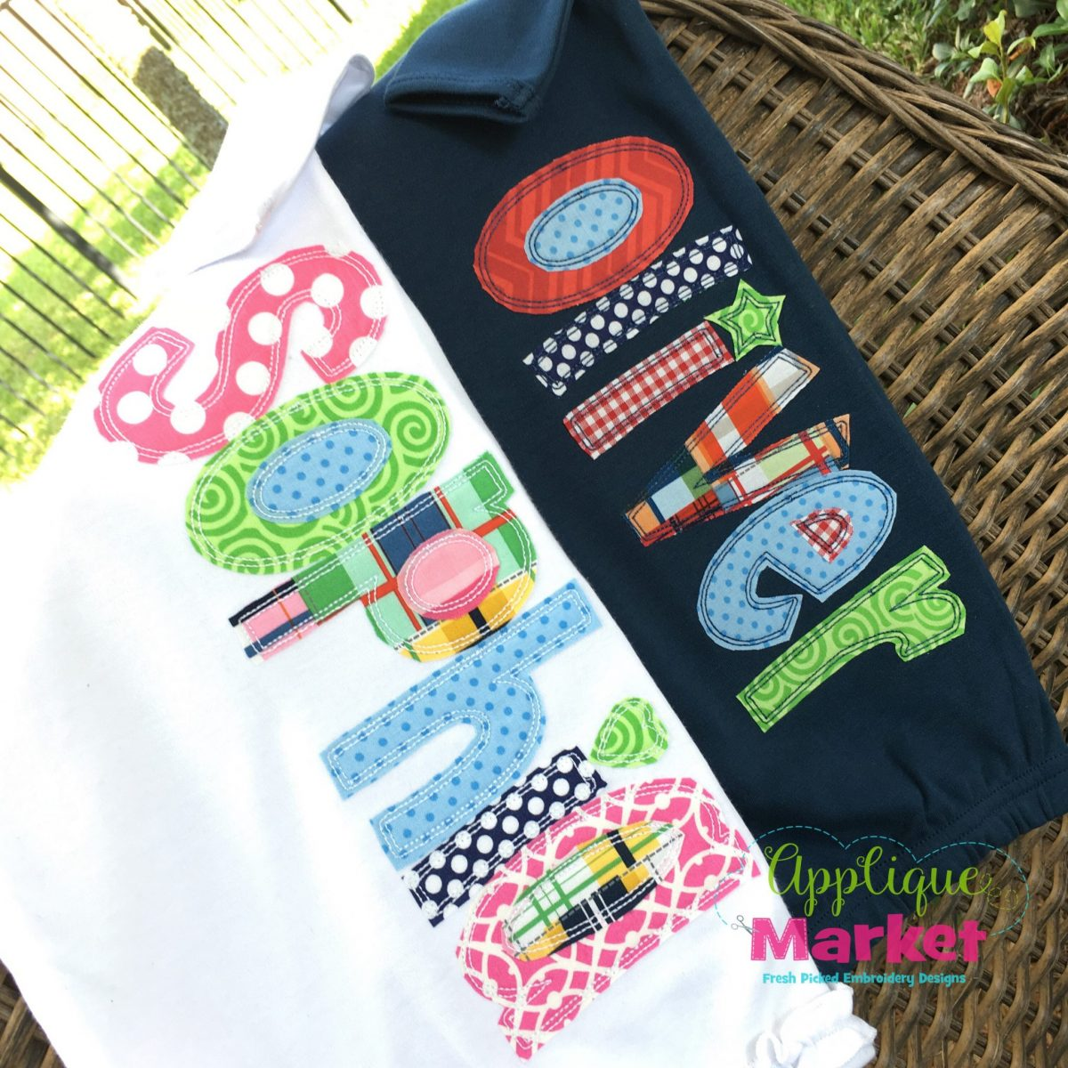 Whimsey Block Applique Bean Stitch Embroidery