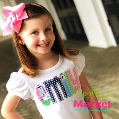 whimsey block applique font ruffle tee square