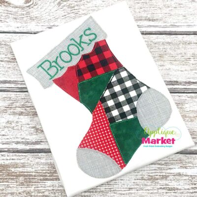 stocking vintage snowman applique