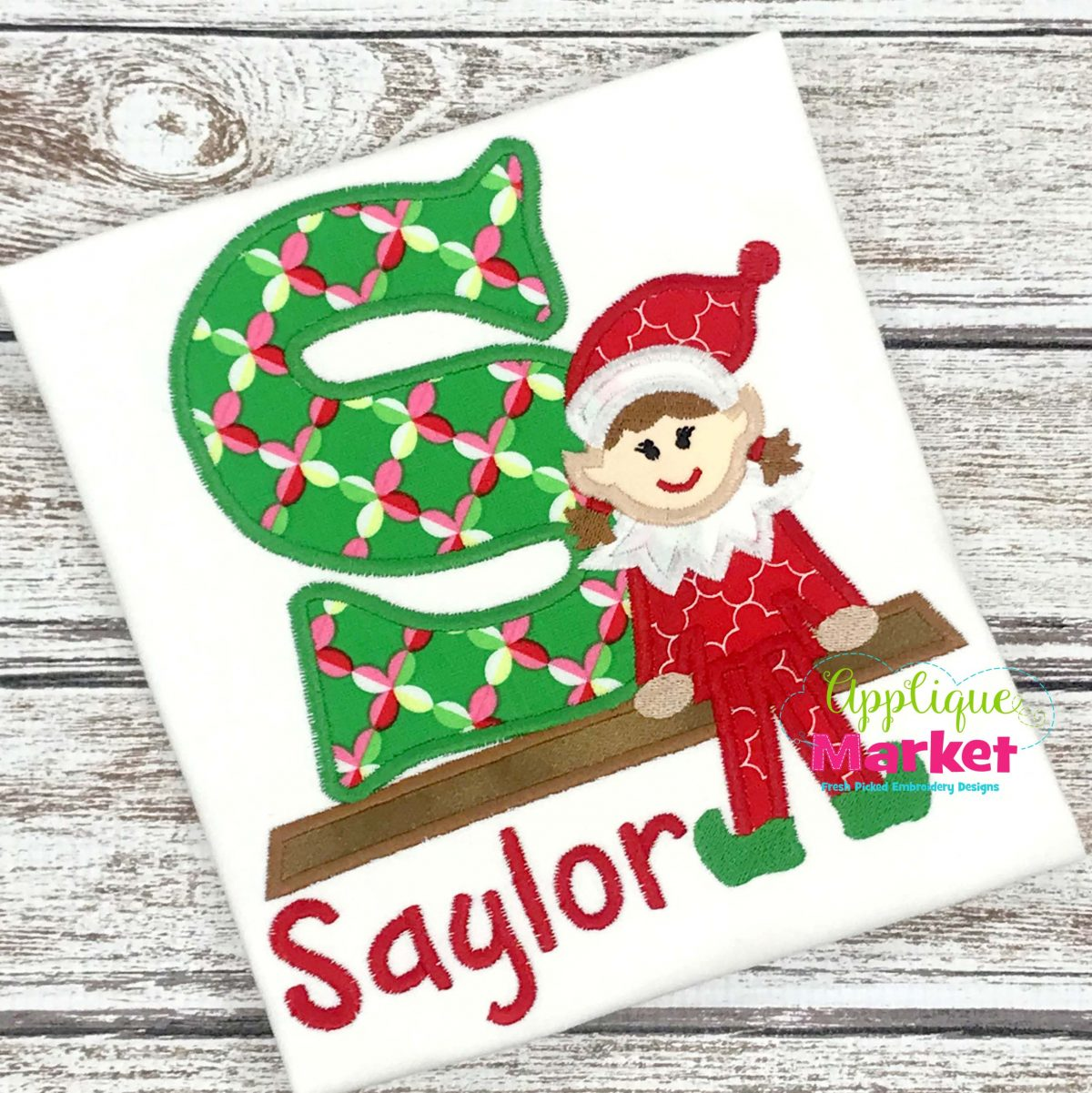 Girl Elf Applique Alphabet Design