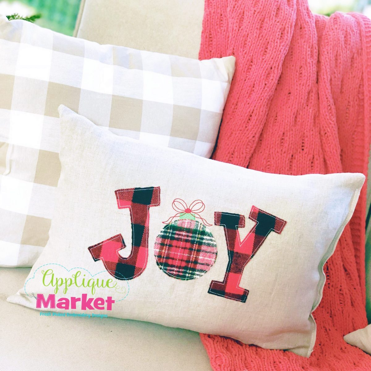 Joy Applique Ornament Vintage Stitch