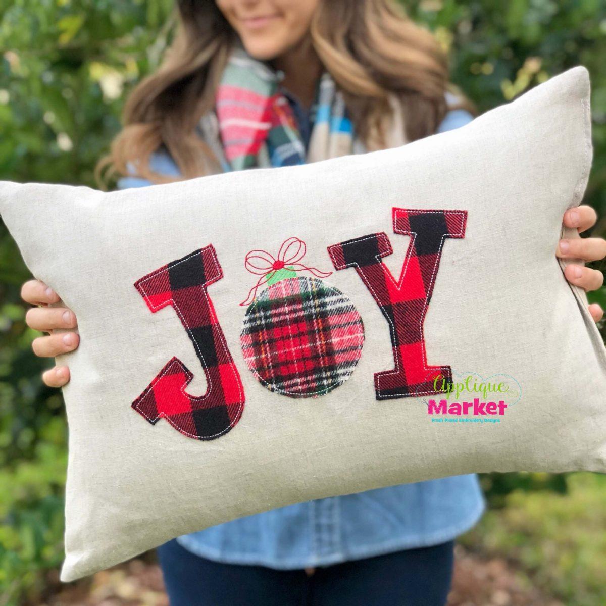 Joy Serif Ornament Vintage Stitch Pillow