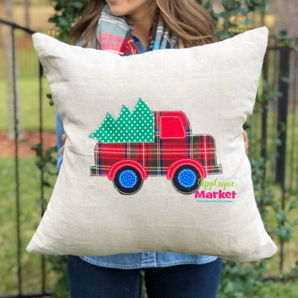 Truck Tree Vintage Stitch Pillow