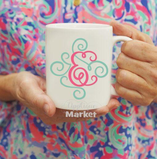 Fancy Flourish Font SVG Mug