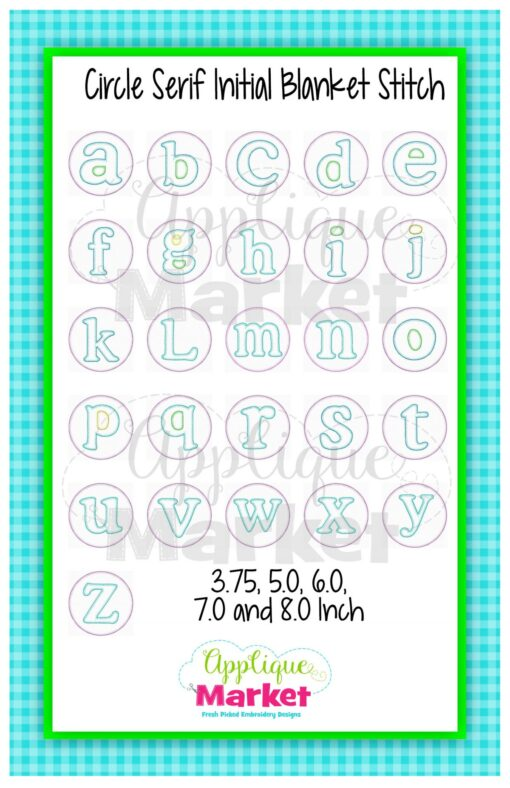 App Market Font Printable Circle Serif Blanket Stitch