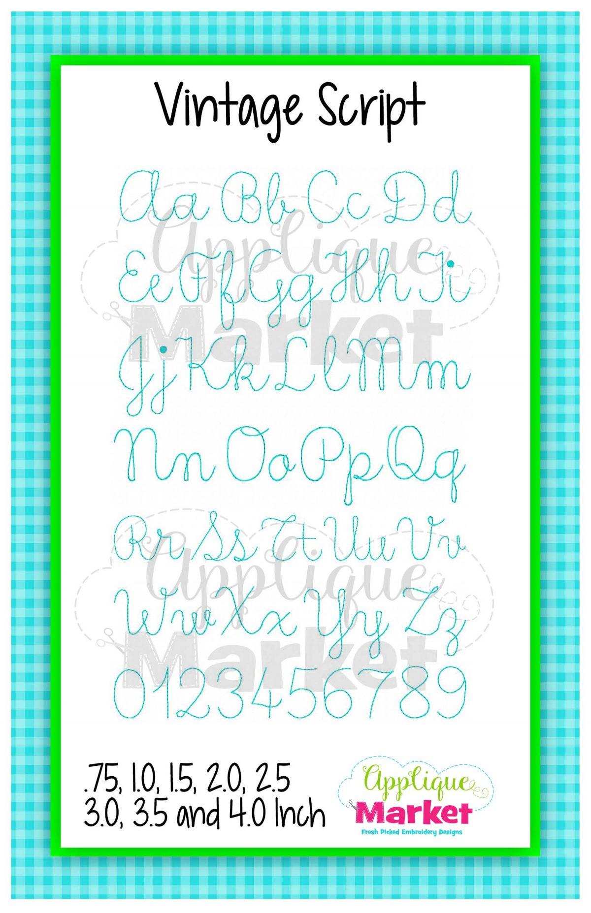 Vintage Script Alphabet