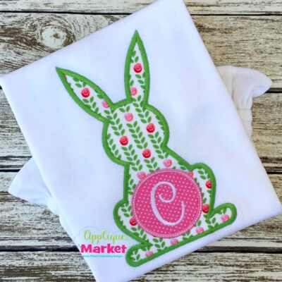 Rabbit Outline Monogram Satin