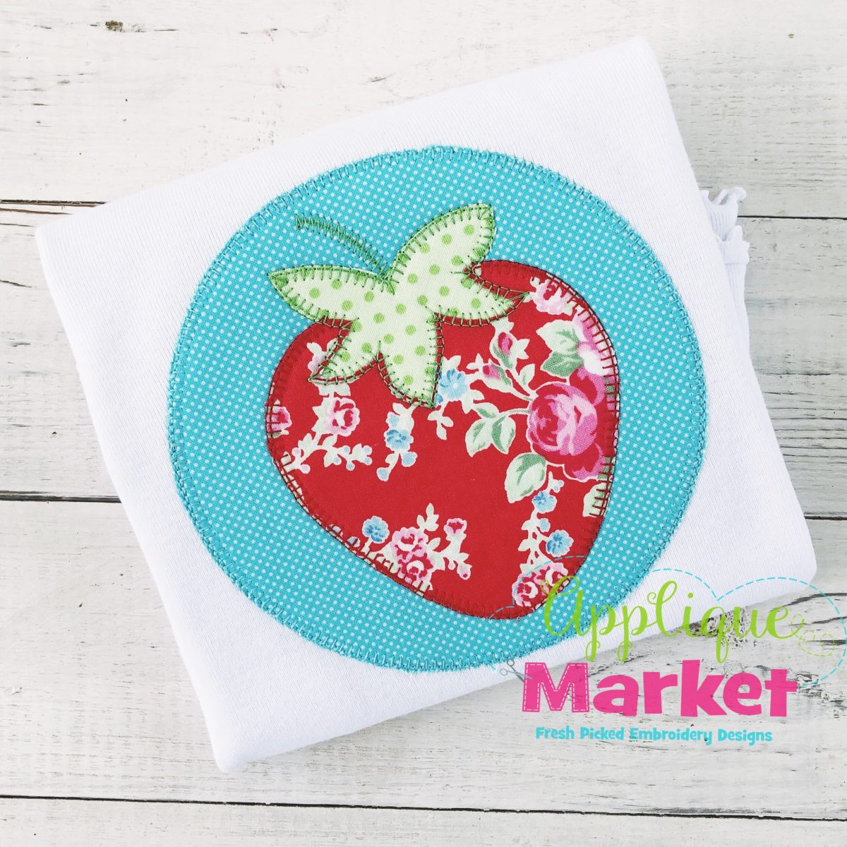 strawberry circle blanket stitch