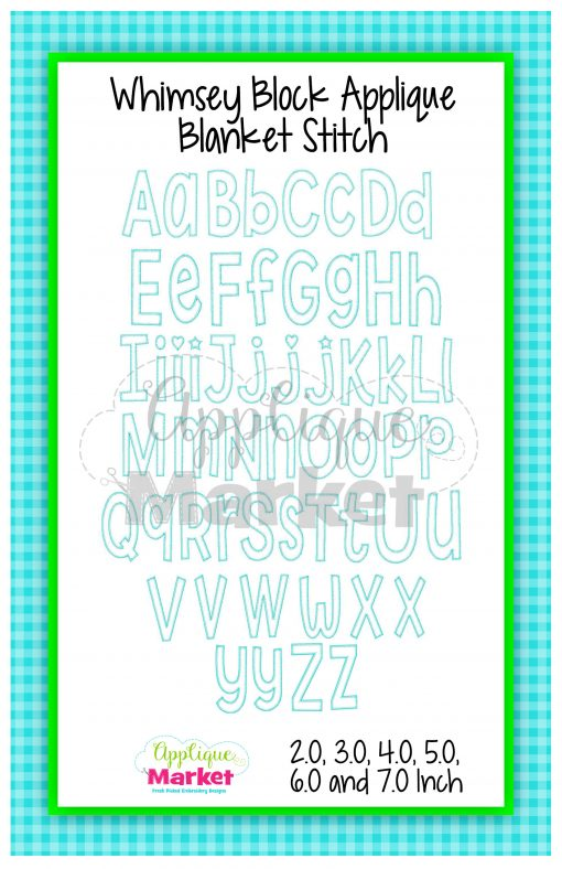 App Market Font Printable Whimsey Block Applique Blanket Stitch