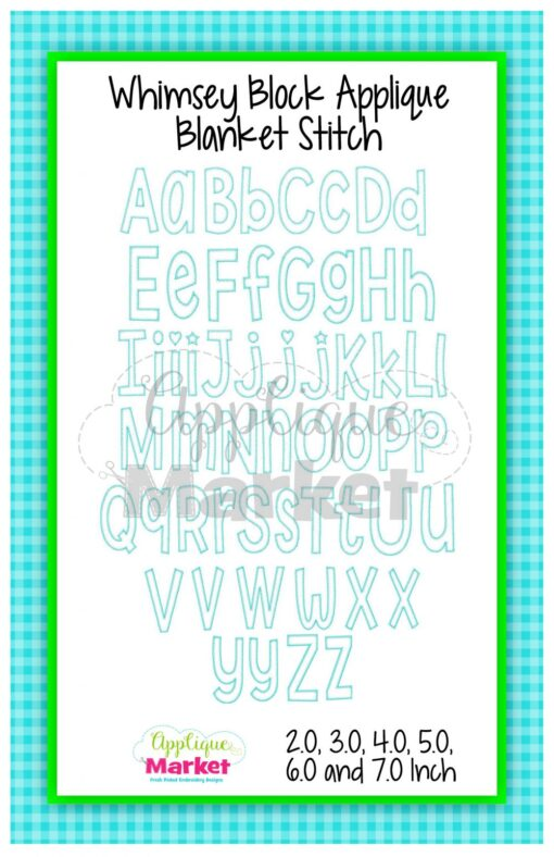 App Market Font Printable Whimsey Block Applique Blanket Stitch