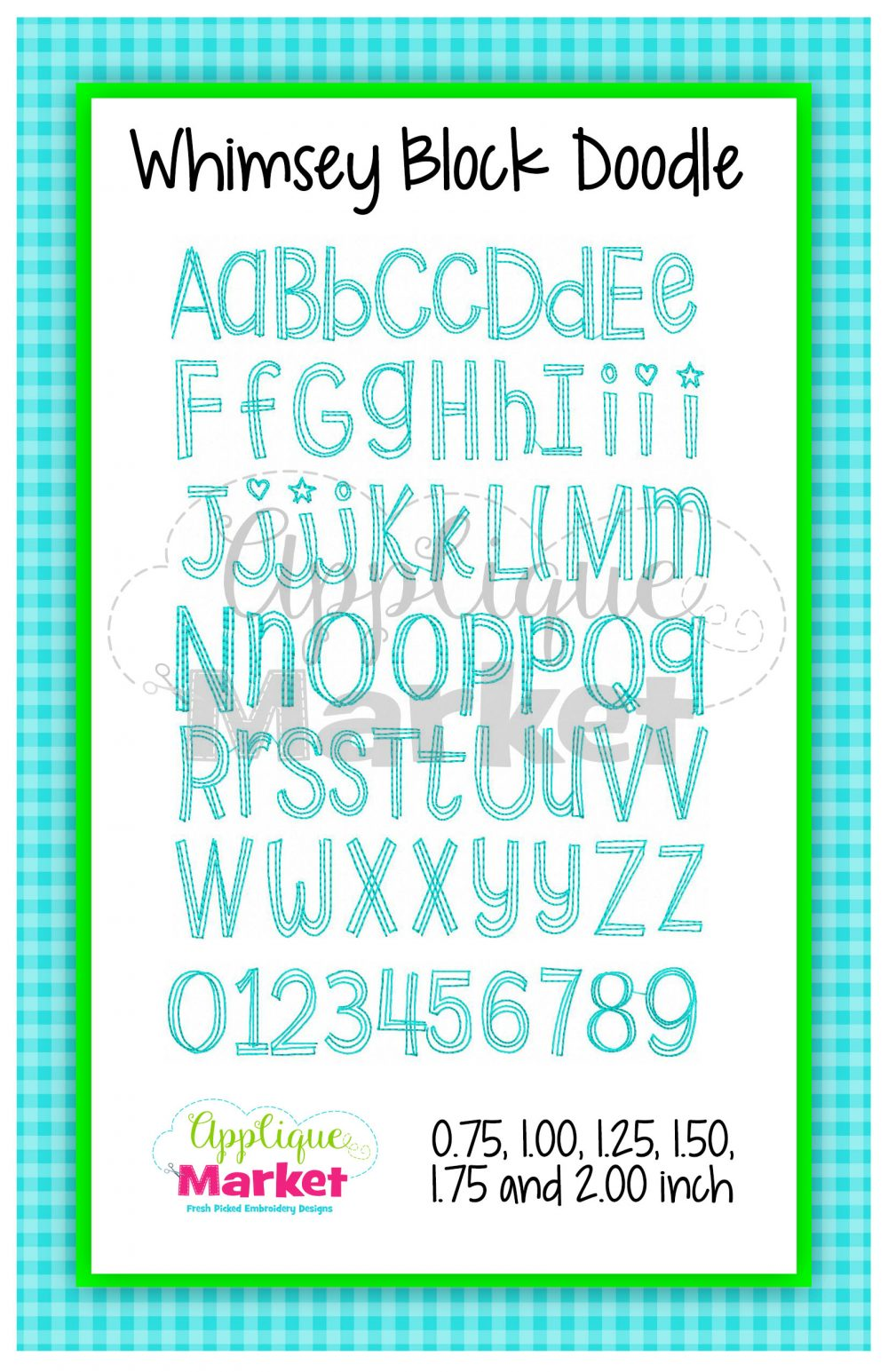Whimsey Block Doodle Alphabet Embroidery Machine Font