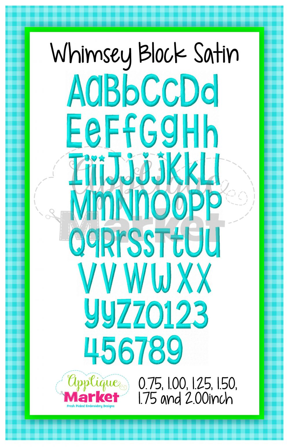 Whimsey Block Satin Alphabet Embroidery Machine Font