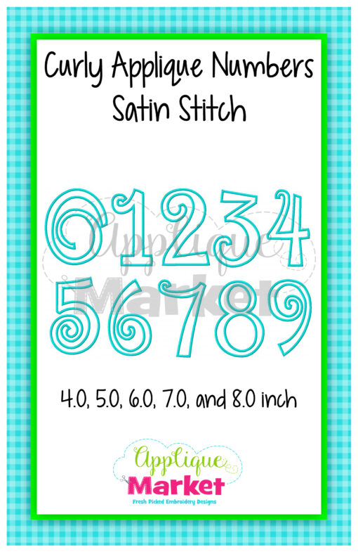 Curly Applique Numbers Satin Stitch