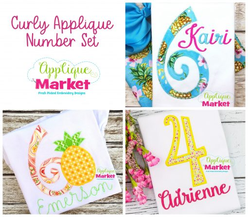 Curly Applique Numbers Set