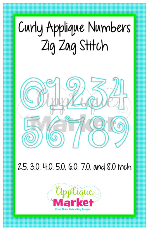 Curly Applique Numbers Zig Zag Stitch