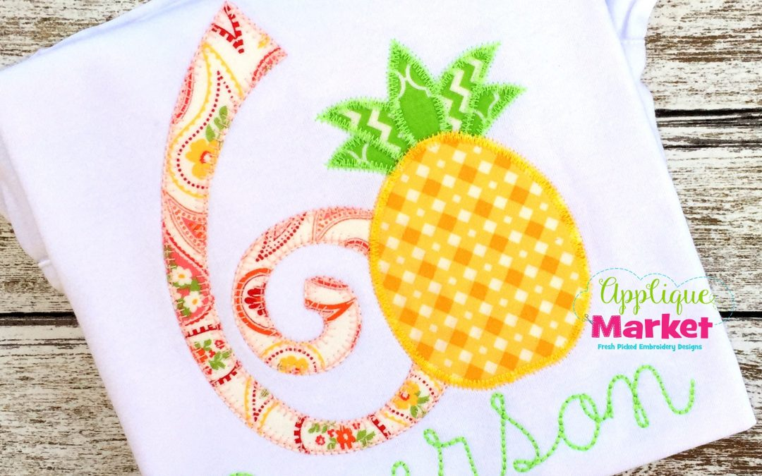 Curly Applique Numbers Blanket Stitch