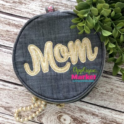 Mom Cursive Bean Stitch
