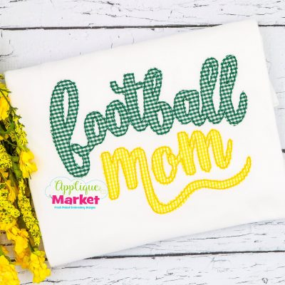 Football Mom Cursive Bean Stitch