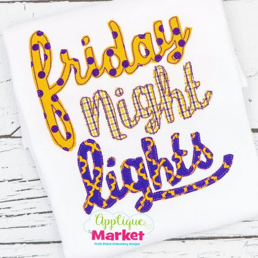 Friday Night Lights Applique Cursive Bean Stitch