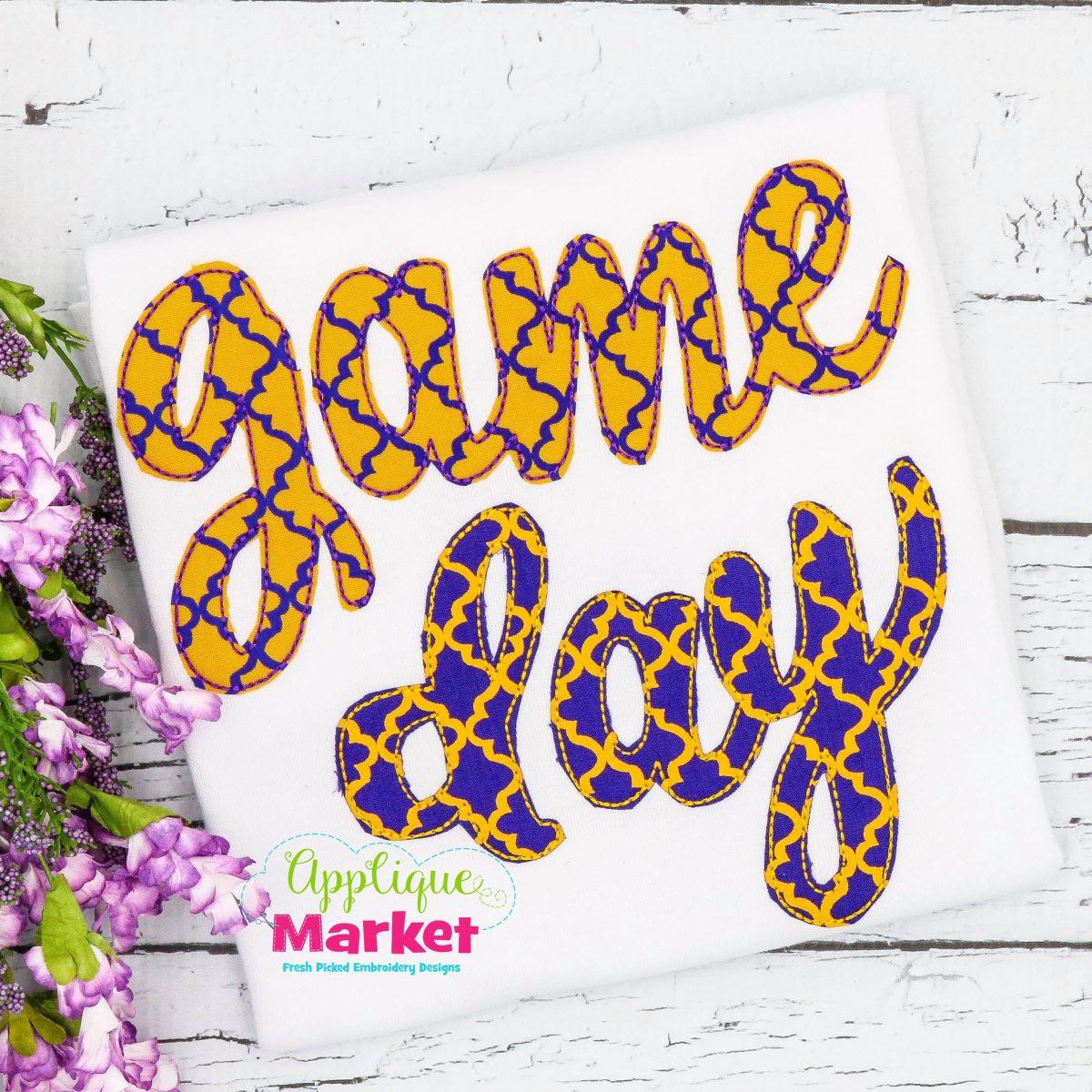 Game Day Cursive Bean Stitch