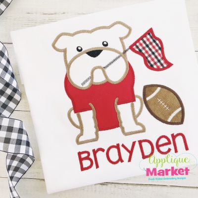 Bulldog Pennant Football Pennant Applique
