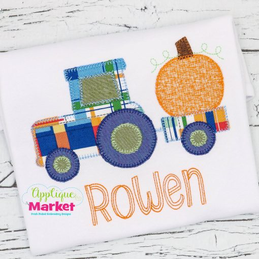Tractor Pumpkin Blanket Stitch