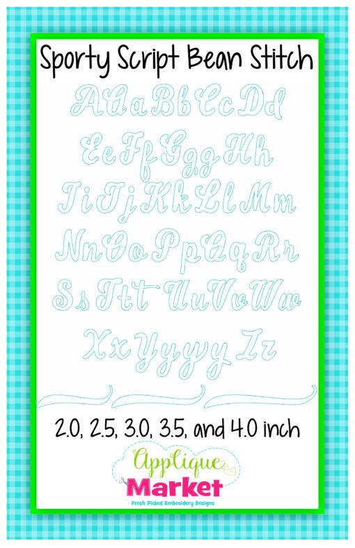 Sporty Script Applique Bean Stitch
