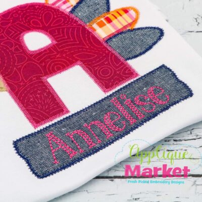 Applique Name Rectangle Scallop Zig Zag