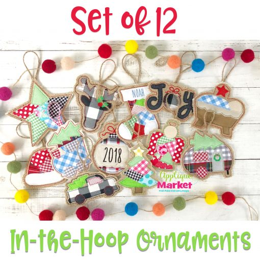 In the Hoop Ornament Designs Merry Set