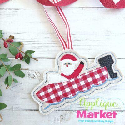 Santa Boat ITH Ornament