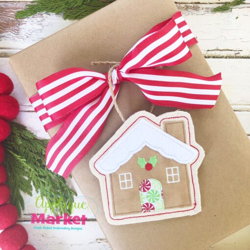 Gingerbread House ITH Ornament Gift Tie 2