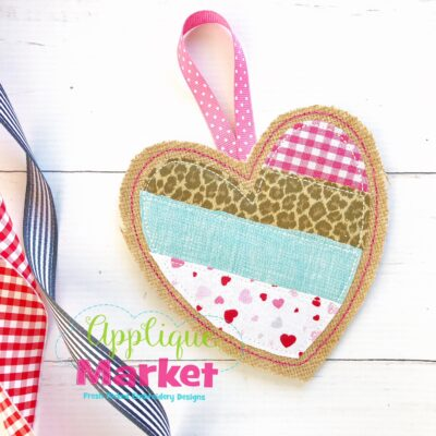 ITH Patchwork Stripe Heart Ornament
