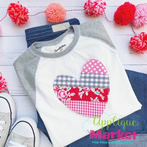 ITH Patchwork Stripe Heart Ornament Shirt