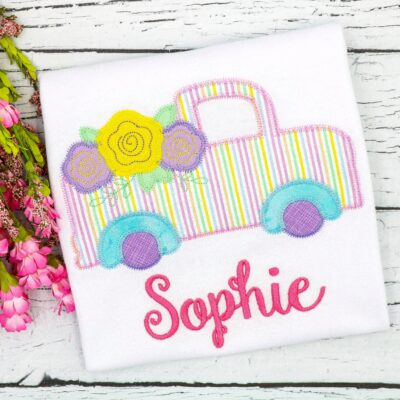 Vintage Truck Flowers Applique Zig Zag
