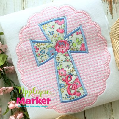 Cross Oval Scallop Applique