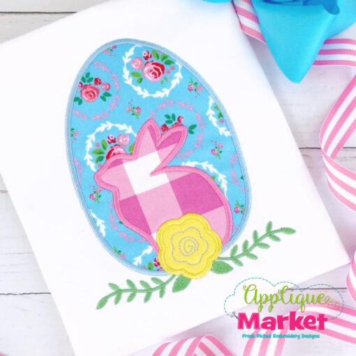 Egg Flower Bunny Applique