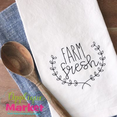 Farm Fresh Wreath Embroidery Boxwood Wreath Towel