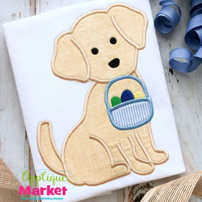 Puppy Easter Basket Applique