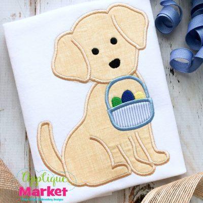 Puppy Easter Basket Applique