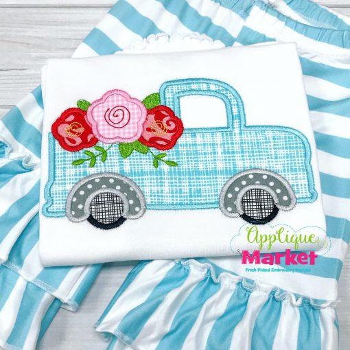 Vintage Truck Flowers Satin