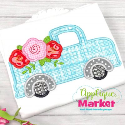 Vintage Truck Flowers Satin Applique