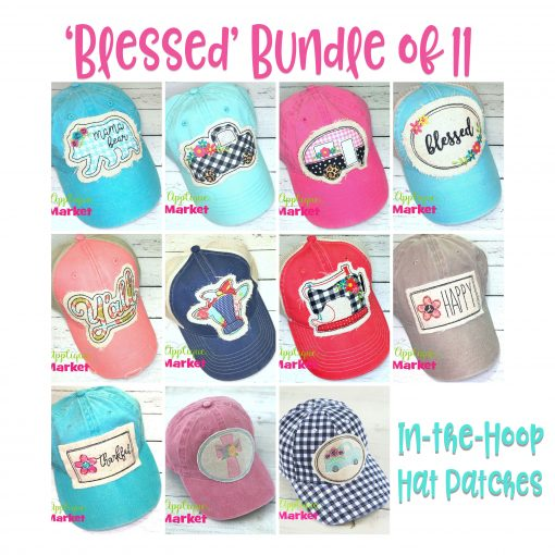 In the Hoop Hat Patches Blessed Bundle