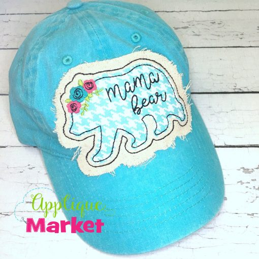 Mama Bear Flowers Hat Patch